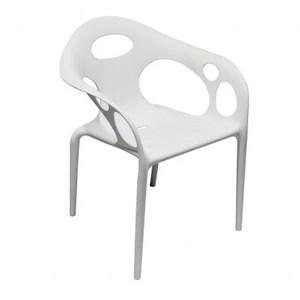 菲比塑膠扶手單椅 白