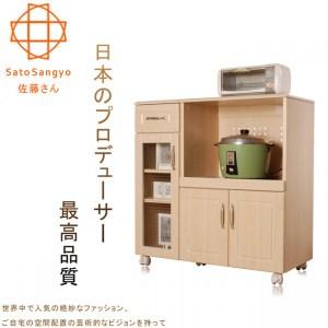 PURE三宅單抽三門開放食器活動收納櫃‧幅88cm