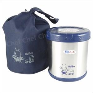 三光牌蘇香不鏽鋼保溫提鍋0.85L附隔層專用提袋保溫便當盒 藍色