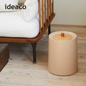 【日本IDEACO】圓形家用垃圾桶-11.4L(附專用原木蓋)白