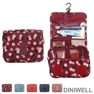 DINIWELL新一代懸掛式防水旅遊盥洗收納包 紅色花朵