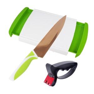 宜居家收納砧板組(砧板1+玫瑰金刀1+磨刀器1)