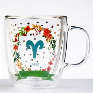 【Royal Duke】雙層玻璃咖啡杯/馬克杯/花茶杯-白羊座(星座杯