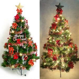 摩達客 台製7尺特級綠松針葉聖誕樹+紅金色系配件+100燈鎢絲樹燈3串