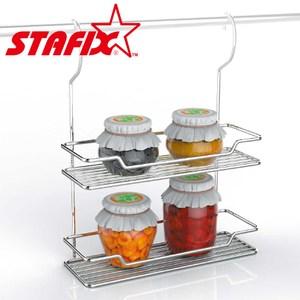 【韓國原裝進口STAFIX】全不銹鋼雙層吊掛置物架30.5x10.5x38CM