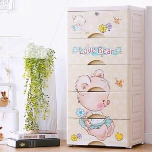 【收納+】45面寬粉漾小熊五層玩具衣物收納櫃-附鎖抽屜DIY(小物收納如圖