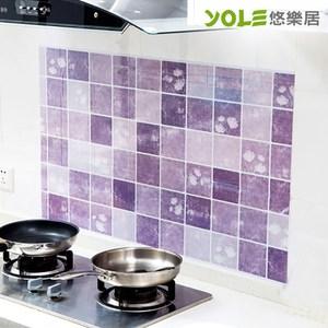 【YOLE悠樂居】雅緻夏荷廚房自黏防油壁貼(2入)-紫#1134018-2