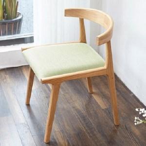 原木日式和風梣木實木圓弧靠背棉麻布坐面餐椅-草木綠坐墊-兩入組