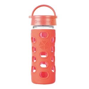 唯樂Lifefactory 彩色玻璃水瓶-平口350ml淺橘紅LF280012