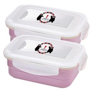 KUMAMON 酷Ma萌鑄瓷可微波烤箱方型800ml保鮮盒兩入