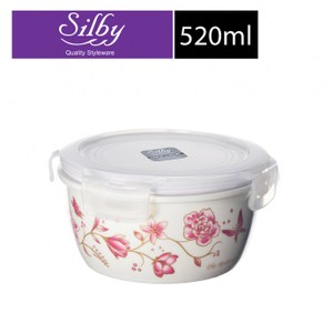 樂扣樂扣典雅瓷器保鮮碗520ML圓型/粉花C12