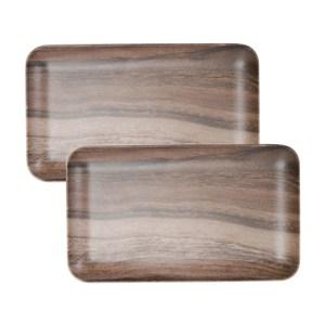 (組)HOLA曼蒂美耐皿托盤21cm木紋2入