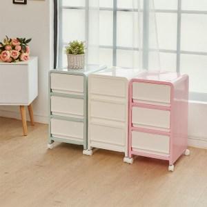 【H&R安室家】韓系馬卡龍三層整理箱/收納箱粉色