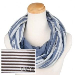 簡約針織條紋圍巾組咖啡白