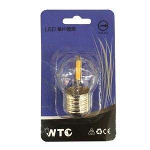 WTC LED E27 0.9W 單片式 球形燈炮 清光黃