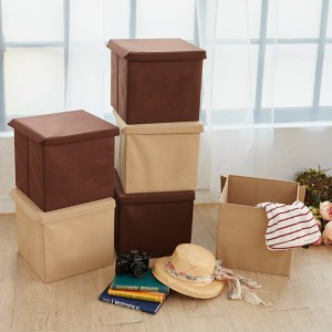 【H&R安室家】可折疊不織布收納箱/收納盒(3入組)深咖啡