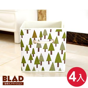 【BLAD】波西米亞風布藝棉麻敞口收納盒22L-超值4入組(刺蝟+樹林)