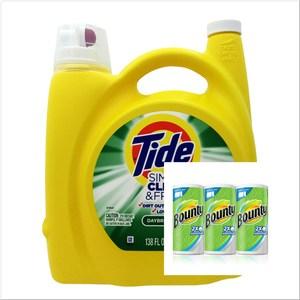美國 Tide濃縮洗衣膏-柑橘(138oz)*1+Bounty紙巾*3