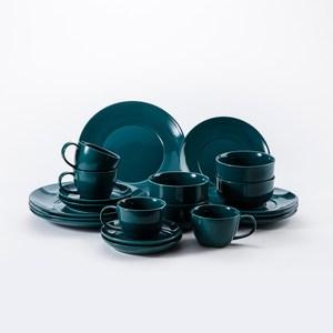 HOLA 璞真純色20件餐具组深綠