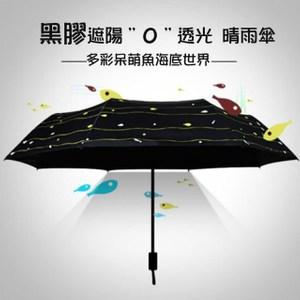 呆萌魚黑膠遮陽三折晴雨傘(CS-UB03)黑色