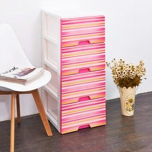 波希米亞四層收納置物櫃(單層26L)-DIY-粉紅