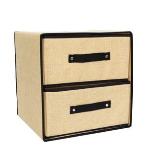 布質雙層抽屜桌上型收納盒 -米黃