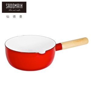 【仙德曼 SADOMAIN】琺瑯單柄雪平鍋-紅色