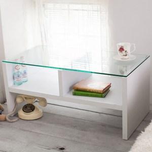 雙向收納空間強化玻璃茶几桌(白色)