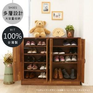 工業風四門收納玄關收納鞋櫃(集成木紋)