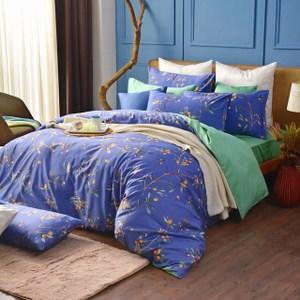 MONTAGUT公爵的金桔茶-260織精梳棉-兩用被床包組(藍-加大)