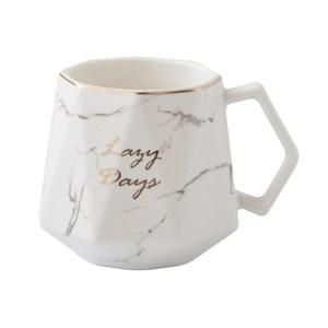 金邊石紋陶瓷杯360ml 白(多色可選)