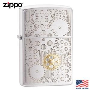 【Zippo】美系 齒輪-雙色調拉絲鍍鉻防風打火機#29907