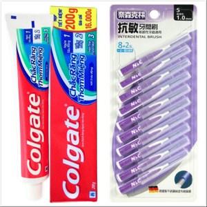 【Colgate 高露潔】牙膏(200g*12)+牙間刷1.0mm(10支)*6