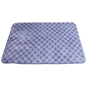 現代風珊瑚絨地毯-格紋藍135x185cm