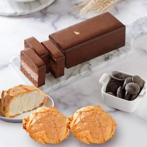 艾波索【82%比利時巧克力慕斯蛋糕+千層冰心泡芙5入】新北十大伴手禮泡芙口味(牛奶)