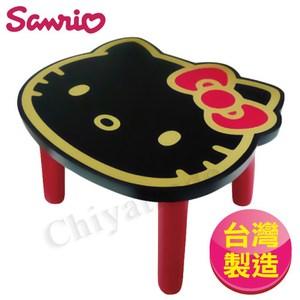 【Hello Kitty】台灣製大頭造型矮凳椅子-黑(正版授權)