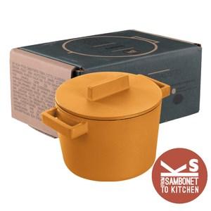 SAMBONET三寶耐 Terra Cott系列橢圓形鑄鐵湯鍋16CM黃色 附蓋