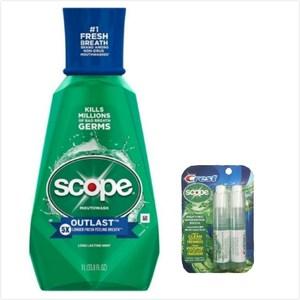 美國 Scope漱口水-5倍薄荷(33.8oz)*2+口氣清新劑*1