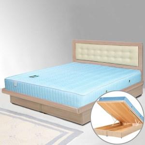 Homelike 艾凡6尺掀床組+獨立筒床墊-雙人加大(白橡木紋)