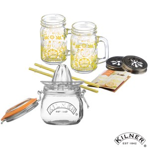 【KILNER】榨汁保鮮兩用密封罐0.5L 搭配 把手玻璃杯禮盒/檸檬