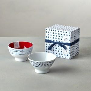 【石丸】波佐見燒 - 藍繪雨滴 - 漆器碗禮盒 (2件組)