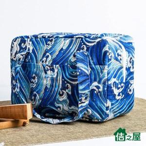 【佶之屋】日式和風棉麻加厚便當袋/保溫保冰袋藍色浪花