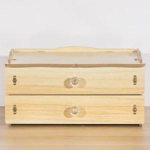 【佶之屋】木質DIY雙層抽屜飾品小物收納盒橡木