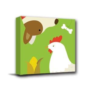 24mama掛畫-單聯式 北歐風無框畫 雞與狗 30x30cm