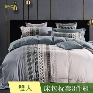 【eyah 宜雅】300織新疆長絨棉雙人床包枕套3件組-夏末的愛戀