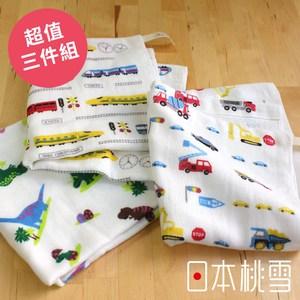 日本桃雪【可愛紗布方巾】超值三件組-小男孩最愛