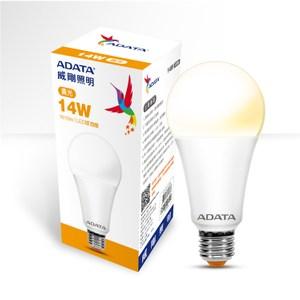 10入組-ADATA威剛14W高效能LED球泡燈-黃光 14W30C