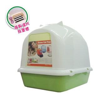 貓臉造型 單層貓砂盆(不透明款)-綠色 (H562A01-4)