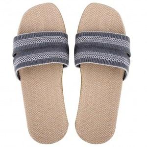 居家織帶亞麻輕便拖鞋 灰色 XL