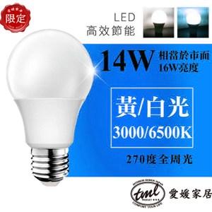 [TML]愛媛家居E27 14W LED燈泡2入 白光/黃光14W黃光燈泡2入